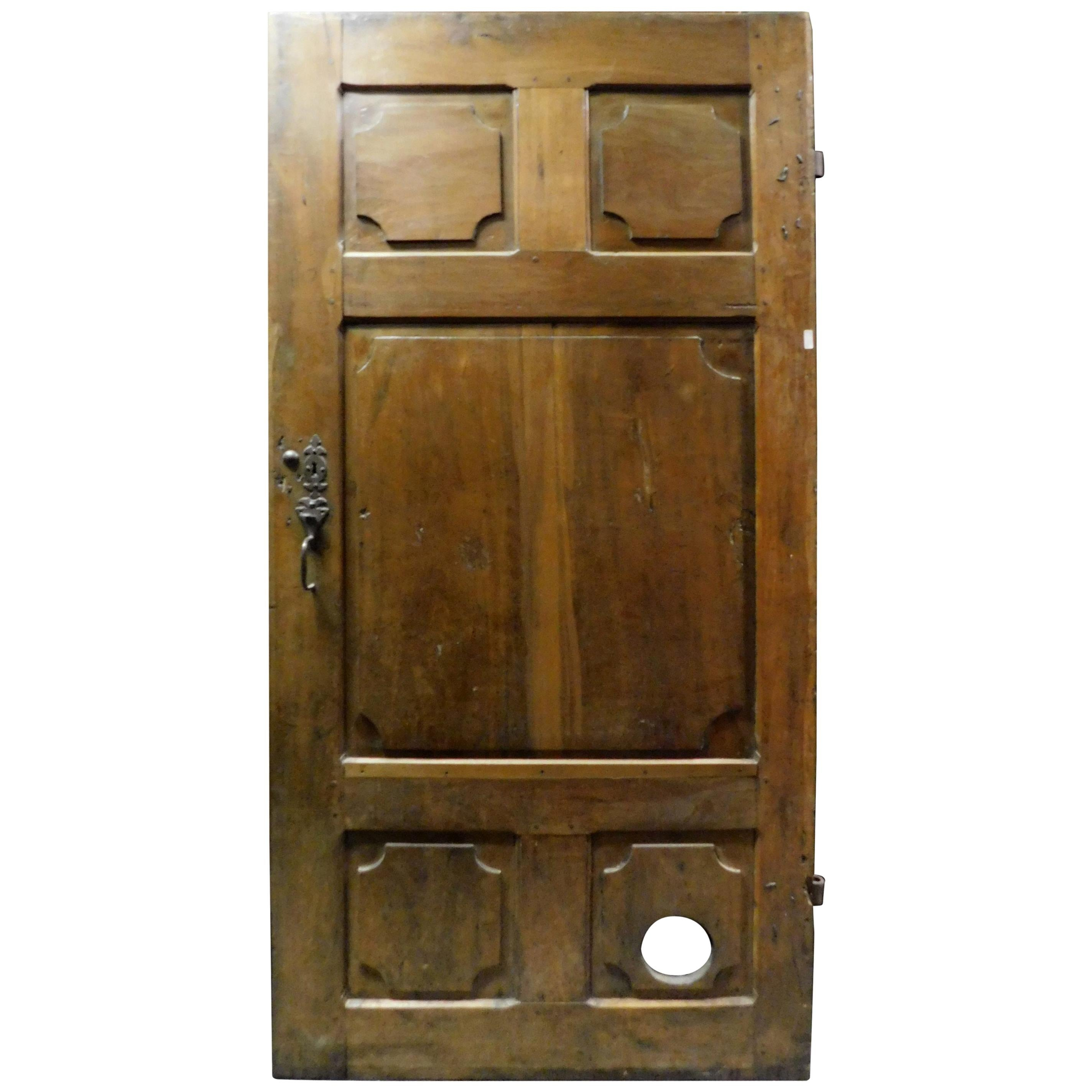 Antique Dark Brown Walnut Door, Hand Carved Panels, 18th Century, Italy
