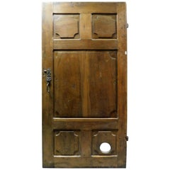 Antique Dark Brown Walnut Door, Hand Carved Panels, 18th Century, Italy