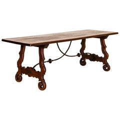 Antique Dark Oak Dining Table with Iron Scroll and Wood Base from France