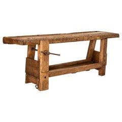 Antique Dark Patina French Carpenter's Work Bench