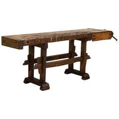 Antique Dark Rustic Carpenter's Work Bench Work Table