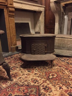 Antique Dark Wrought Iron Stove, Typically from the Italian Valleys, 1900