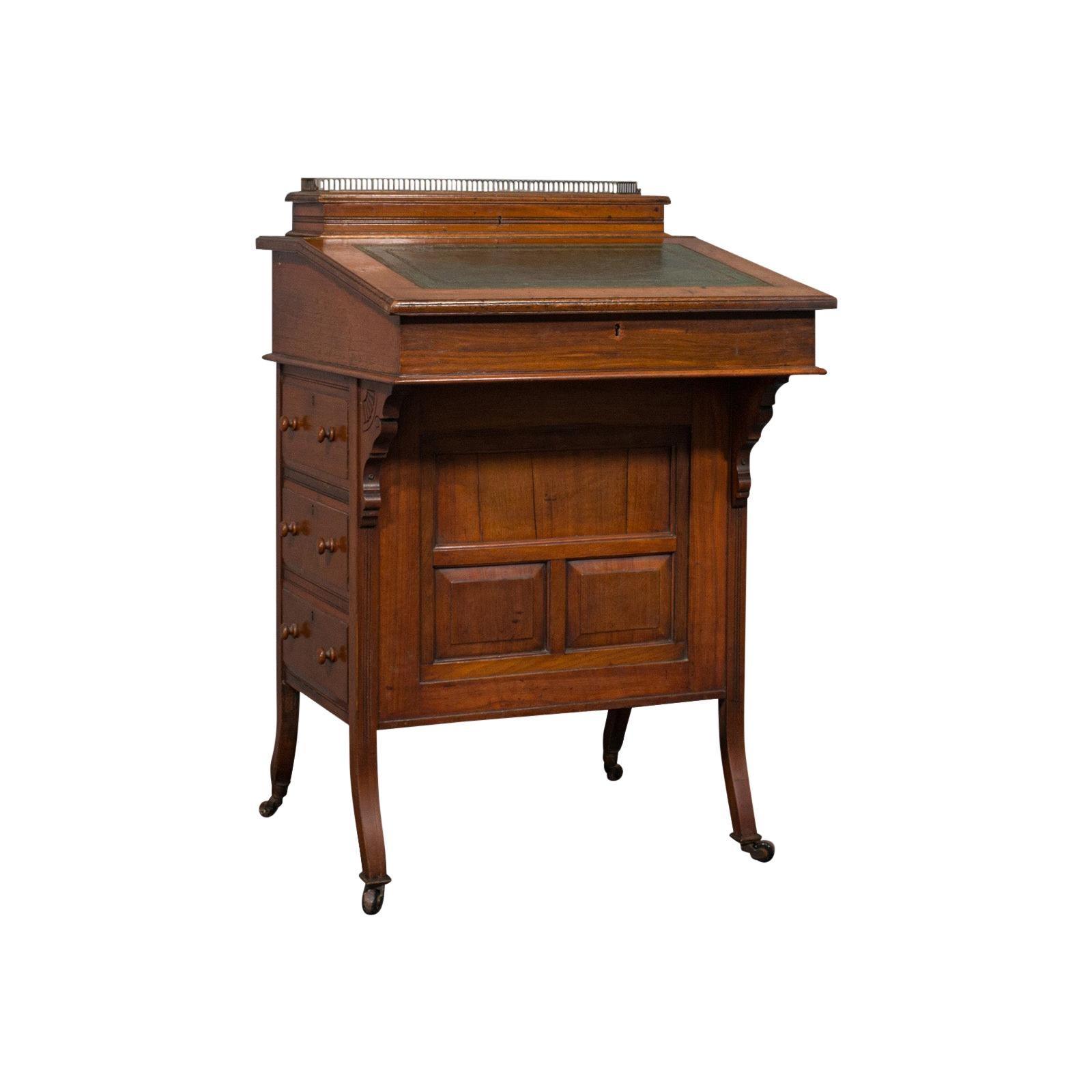 Antique Davenport, English Walnut, Bird's-Eye Maple Writing Desk, Victorian