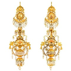 Antique Day-to-Night Gold, Citrine, and Seed Pearl Earrings