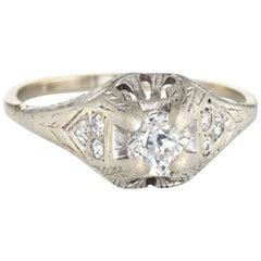 Antique Deco 0.42 Carat Diamond Ring 14 Karat White Gold Vintage Jewelry