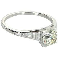 Antique Deco 0.85 Carat Diamond Ring Vintage 18 Karat White Gold Estate