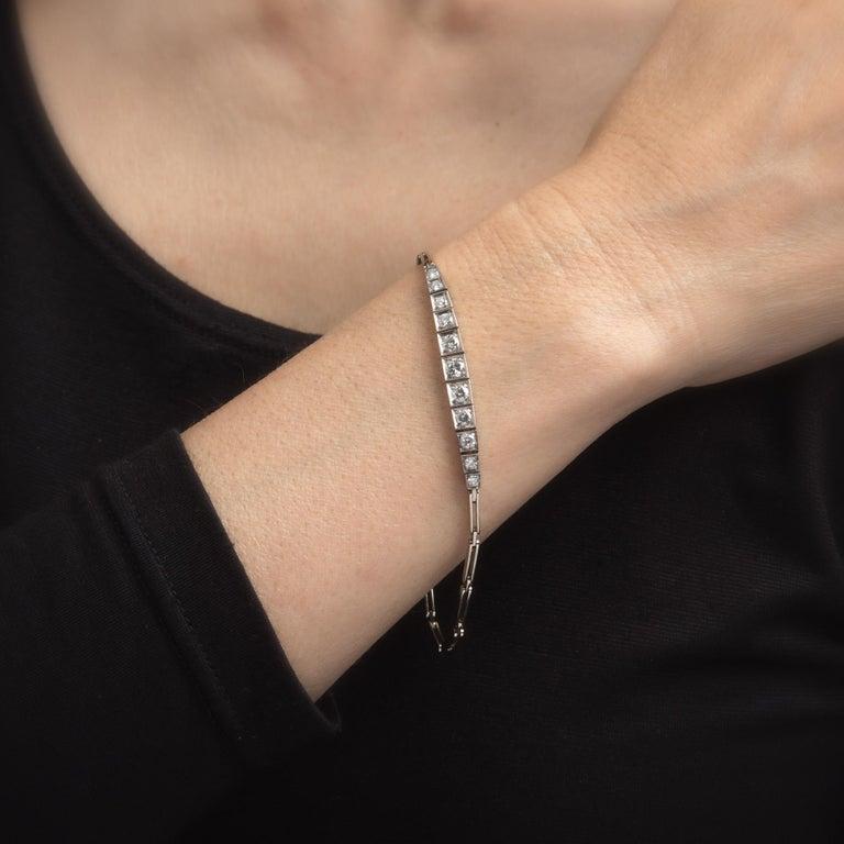 Art Deco Antique Deco 1.15ct Diamond Bracelet 14 Karat Gold Vintage Fine Jewelry Estate