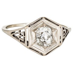Antique Deco 1.35 Carat Diamond Ring 14 Karat White Gold Filigree Vintage