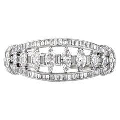 Vintage 16.95 Carat Marquise Diamond Platinum Cuff Bangle Bracelet