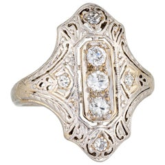 Antique Deco 3 Diamond Ring 18k Gold Platinum Filigree Shield Dinner Jewelry