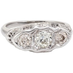 Antique Deco 3 Diamond Ring Trilogy Vintage 14 Karat White Gold Filigree Jewelry