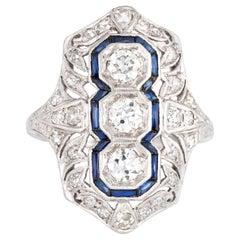 Antique Deco 3 Diamond Sapphire Ring Platinum Shield Dinner Vintage Jewelry
