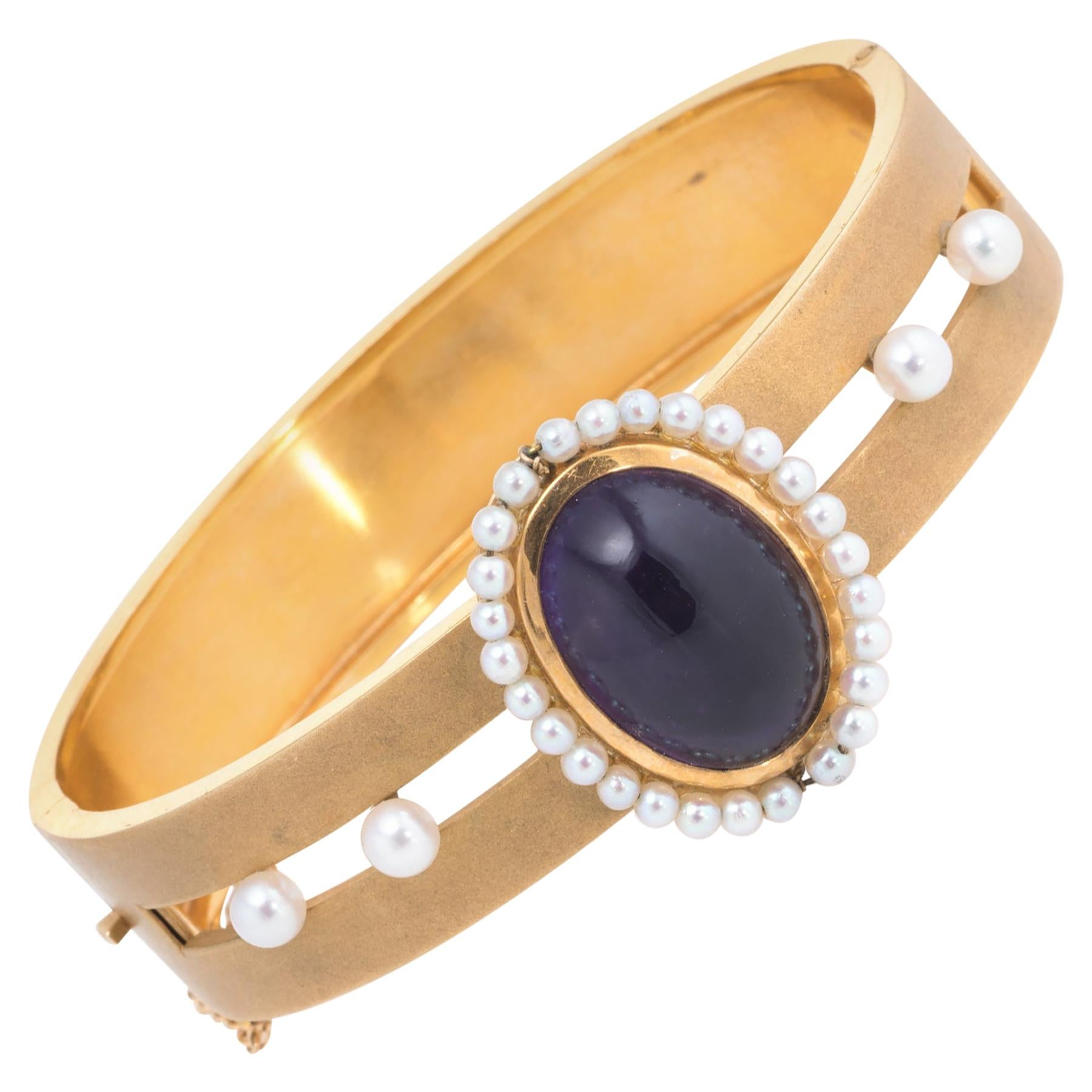 Antique Deco Amethyst Cultured Pearl Bangle Bracelet Vintage 14 Karat Gold