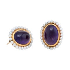 Antique Deco Amethyst Seed Pearl Earrings Vintage 14 Karat Gold Estate Jewelry