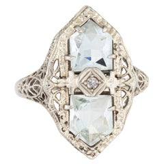 Antique Deco Aquamarine Diamond Ring 14 Karat Gold Filigree Cocktail Jewelry