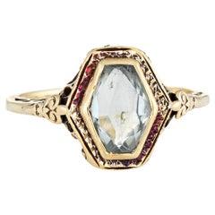 Antique Deco Aquamarine Ring Vintage 14 Karat Yellow Gold Vintage Fine Jewelry