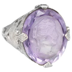 Antique Deco Carved Amethyst Intaglio Ring Vintage 14 Karat White Gold Filigree