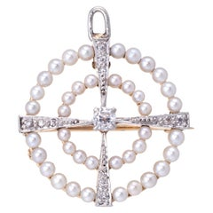 Antique Deco Diamond Cultured Pearl Circle Pendant Brooch Vintage Fine Jewelry