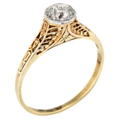 Antique Deco Diamond Ring 14 Karat Yellow Gold Filigree Vintage Jewelry