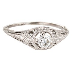 Antique Deco Diamond Engagement Ring 18 Karat White Gold Vintage Fine Filigree