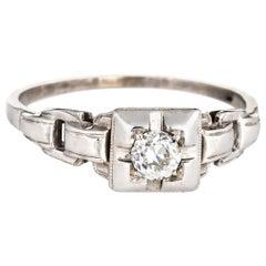 Antique Deco Diamond Engagement Ring 18 Karat White Gold Vintage Old Mine Cut