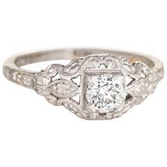 Antique Deco Diamond Engagement Ring Fine Vintage Embossed Platinum