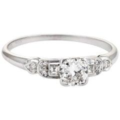 Antique Deco Diamond Engagement Ring Vintage Platinum Estate Fine Jewelry