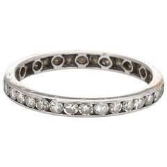 Antique Deco Diamond Eternity Ring Vintage Platinum Estate Fine Jewelry