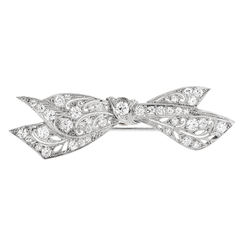 Antique Deco Diamond Platinum Ribbon-Bow Pin Brooch