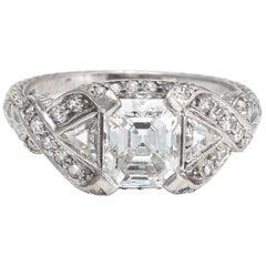 Antique Deco Diamond Ring Platinum 1.33ct GIA Vintage Fine Jewelry Bridal 5.25