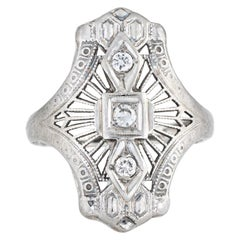 Antique Deco Diamond Ring Platinum 18k Filigree Shield Dinner Jewelry 4 Pinky