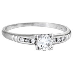 Antique Deco Diamond Ring Platinum Engagement Vintage Fine Jewelry Bridal