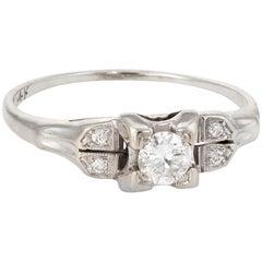 Antique Deco Diamond Ring Vintage 14 Karat Gold Estate Fine Jewelry Heirloom