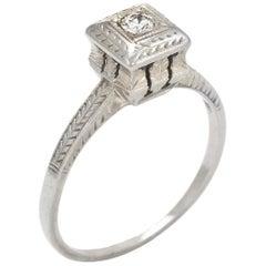 Antique Deco Diamond Ring Vintage 18 Karat White Gold Engagement Estate Jewelry
