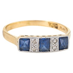 Antique Deco Diamond Sapphire Band 18 Karat Gold Platinum Ring French Cut