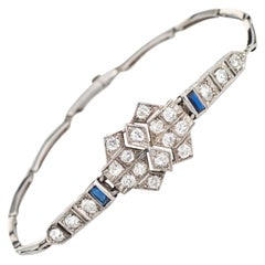 Antique Deco Diamond Sapphire Bracelet Platinum 18 Karat Gold Fine Jewelry