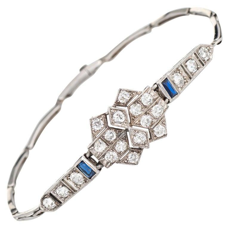 Antique Deco Diamond Sapphire Bracelet Platinum 18 Karat Gold Fine Jewelry For Sale
