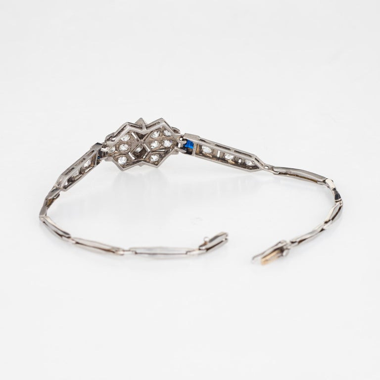 Old Mine Cut Antique Deco Diamond Sapphire Bracelet Platinum 18 Karat Gold Fine Jewelry For Sale