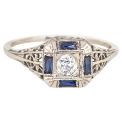 Antique Deco Diamond Sapphire Ring Filigree 14 Karat Gold Square Fine Jewelry