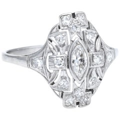 Antique Deco Diamond Shield Ring Vintage 18 Karat White Gold Estate Fine Jewelry