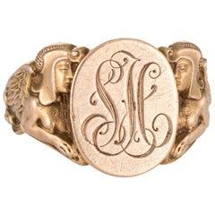 Antique Deco Egyptian Revival Signet Ring Sphinx Man Lion 14k Gold 10.5 Mens