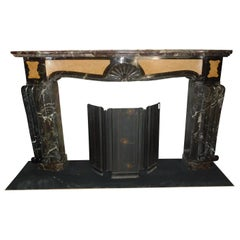 Antique Deco Fireplace, Inlaid Red and Yellow Marble, Rough, Early 1900, Italy