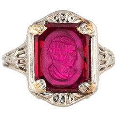 Antique Deco Intaglio Ring Bust Vintage 14 Karat Gold Filigree Jewelry Carved