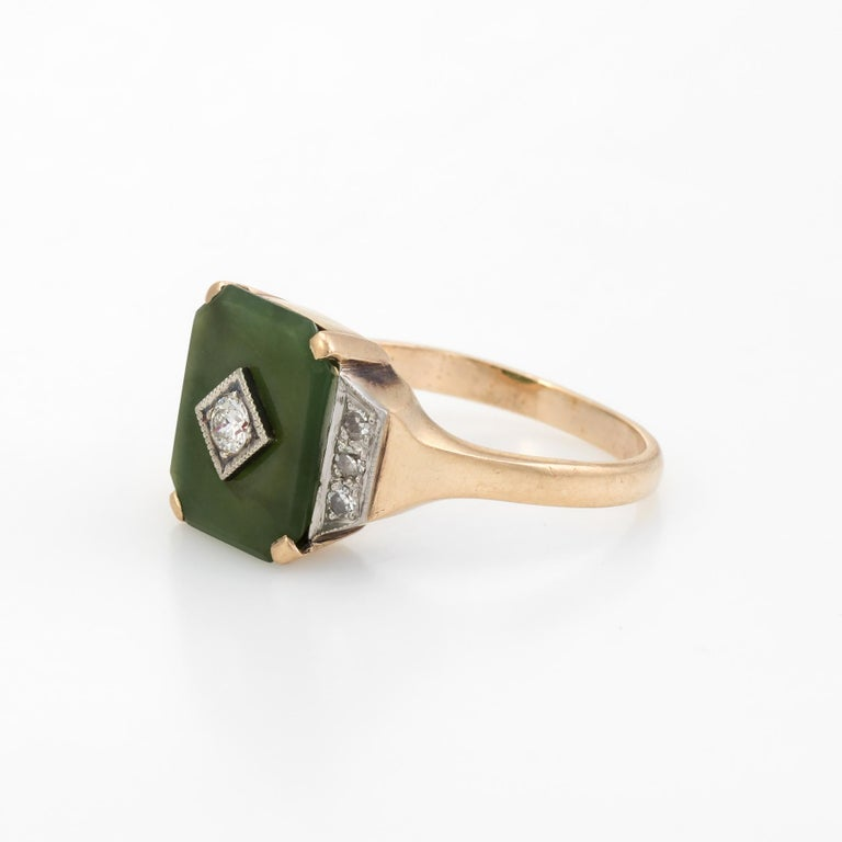 Antique Deco Jade Diamond Ring 10 Karat Gold Cocktail Estate Fine Jewelry In Good Condition For Sale In West Hills, CA