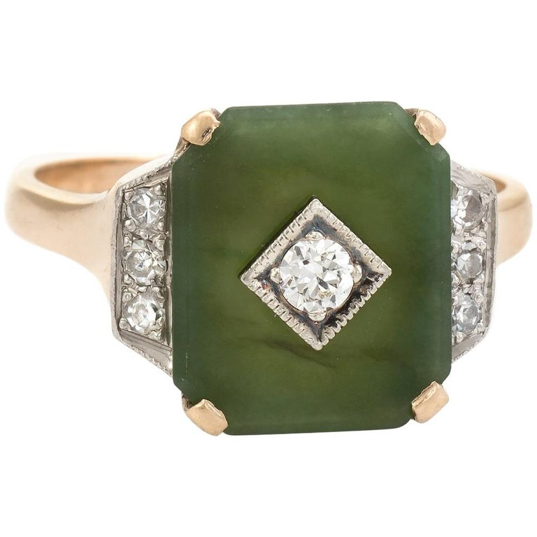 Antique Deco Jade Diamond Ring 10 Karat Gold Cocktail Estate Fine Jewelry For Sale