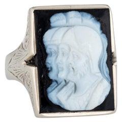Antique Deco Men's Sardonyx Cameo Ring Triple Profile 10 Karat Gold Vintage
