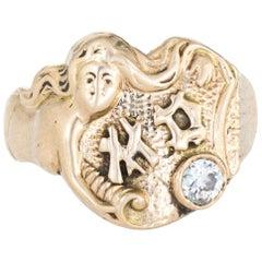 Antique Deco Mermaid Ring Signet 14 Karat Gold Diamond Vintage Fine Jewelry