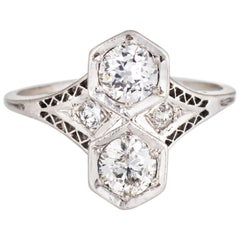 Antique Deco Moi et Toi 2 Diamond Ring Platinum Vintage Fine Jewelry Double
