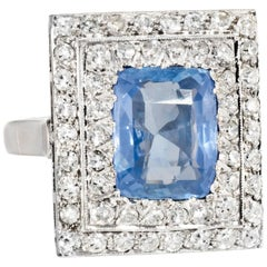 Antique Deco No Heat Natural Sapphire Diamond Square Ring Vintage 18 Karat Gold