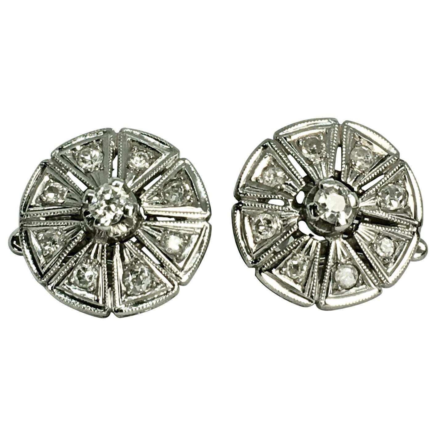 Antique Deco Diamond Earrings Clip-on Earrings 18K White Gold